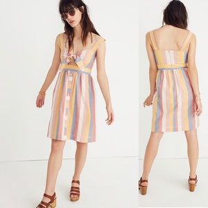 MADEWELL | Tie-Front Midi Dress in Sherbet Stripe